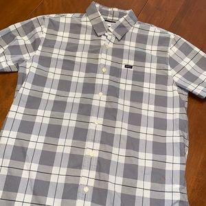 RVCA men's plaid small button down shirt